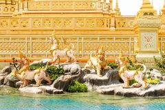 Four Myhtical creatures in Himavanta forest decorated around the Royal Crematorium at November 04, 2017. Bangkok, Thailand - November 04, 2017; Four Myhtical Royalty Free Stock Photography