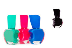 Four nail polish bottles Royalty Free Stock Photo