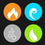 Four natural elements - fire, air, water, earth - nature circular symbols with flame, bubble air, wave water and leaf. Illustration Royalty Free Stock Image