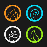 Four natural elements - fire, air, water, earth - nature circular symbols with flame, bubble air, wave water and leaf. Illustration Stock Image