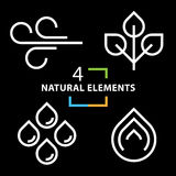 The four natural elements icons set Stock Images