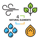The four natural elements icons set Royalty Free Stock Photos