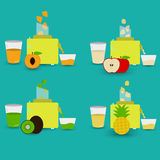 Four natural juices Royalty Free Stock Image
