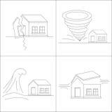 Four natural phenomena destroying homes. Katastrofa.Tornado. Tsunami. Earthquake. Hurricane winds. Royalty Free Stock Photography