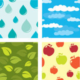 Four Natural Seamless Patterns Royalty Free Stock Photo
