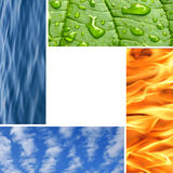 Four nature elements. Water waves,fire,clousds and green plant.Lots of space in center for your text Royalty Free Stock Photo