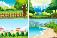 Four nature scene at daytime Stock Photos