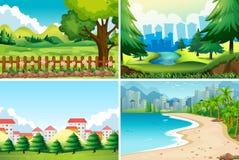 Four nature scene at daytime. Illustration Stock Photos