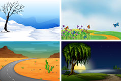 Four nature scenes day and night. Illustration Royalty Free Stock Images