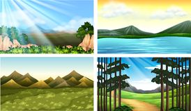 Four nature scenes with forest and lake. Illustration Stock Images