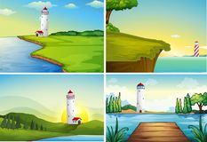 Four nature scenes with lighthouse by the ocean. Illustration Stock Photos