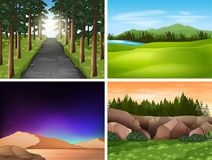 Four nature scenes with mountains and field. Illustration Stock Photography
