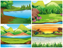 Four nature scenes with mountains Stock Photos