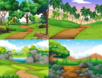 Four nature scenes with trail in the woods royalty free illustration