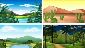 Four nature scenes with tree and mountains. Illustration Stock Photos