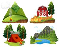 Four nature scenes on white background. Illustration Stock Images
