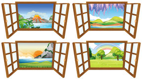Four nature scenes through the window. Illustration Stock Image