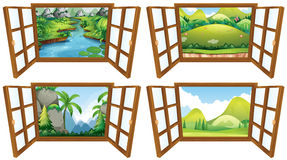 Four nature scenes from the window. Illustration Royalty Free Stock Image