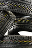 Four new black tires isolated on white Royalty Free Stock Images