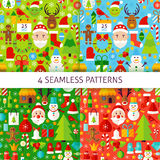 Four New Year Seamless Patterns. Merry Christmas Flat Design Vector Illustration. Tile Background Royalty Free Stock Photos