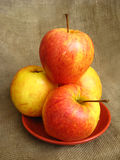 Four nice apples on the plate Royalty Free Stock Image