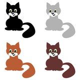 Four nice cats on white background Royalty Free Stock Photography