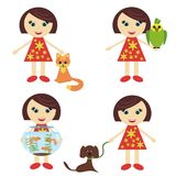Four Nice Girls With Pets Stock Images