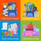 Four nice school banners for education design stock photos