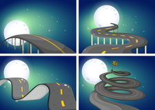 Four night scenes of empty roads Stock Image