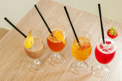 Four non alcoholic cocktails. Four colours and four taste non alcoholic cocktails Stock Images