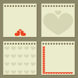 Four note papers with hearts. Royalty Free Stock Photography