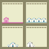 Four note papers with houses. Stock Images