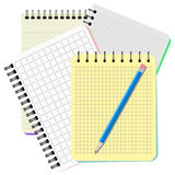 Four notebooks and blue pencil. On a white background Stock Image