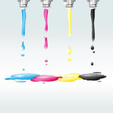 Four nozzles with CMYK colors Royalty Free Stock Photo