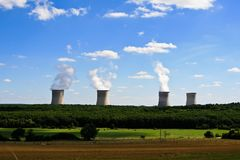Four nuclear cooling towers Royalty Free Stock Images