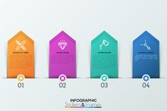 Four numbered tags with thin line icons and text boxes inside placed along horizontal line. 4 steps of project. Development concept. Infographic design template Stock Images