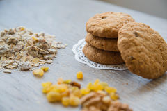 Four oat biscuits with raisins Stock Image