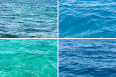 Four ocean water surface texture stock images