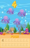 Four octopus underwater worksheet stock illustration