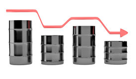 Four oil barrels with decreasing up red arrow Stock Photos