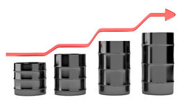 Four oil barrels with increasing up red arrow Stock Photos