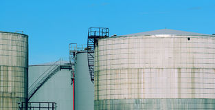 Four oil tanks Stock Photography