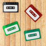 Four old audio cassette tapes Stock Image