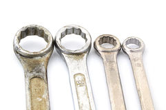 Four old box wrenches. Isolate on white background Royalty Free Stock Image