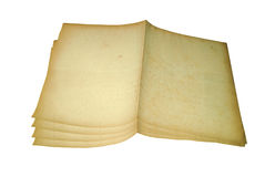 Four old paper isolated on white background Stock Image
