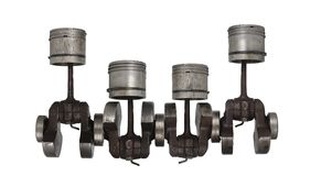 Four old piston and connecting rod Royalty Free Stock Images
