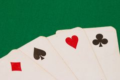 Four old playing cards Royalty Free Stock Image