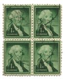Four old postage stamps from USA one cent. Washington royalty free stock photos