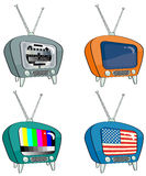 Four old-style television. With different screens Stock Photography