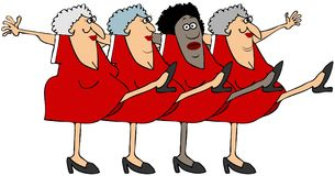 Four old women in a chorus line. Illustration of four old women king their legs up dancing the can-can Royalty Free Stock Photo